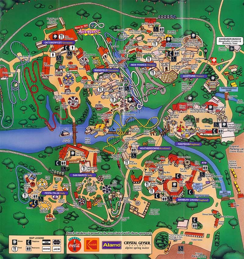 Busch Gardens Williamsburg 1997 Map Theme Park Maps Pinterest Theme Park Map