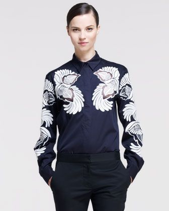 Feather-Flower-Embroidered+Poplin+Shirt+by+Stella+McCartney+at+Neiman+Marcus.