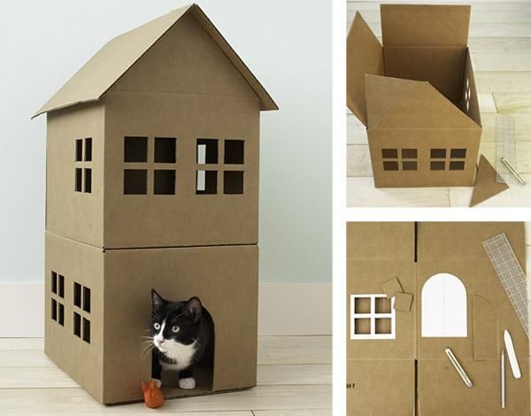 cr er une maison de jeu en carton pour nos chats deco maison jardin dog furniture small cat. Black Bedroom Furniture Sets. Home Design Ideas