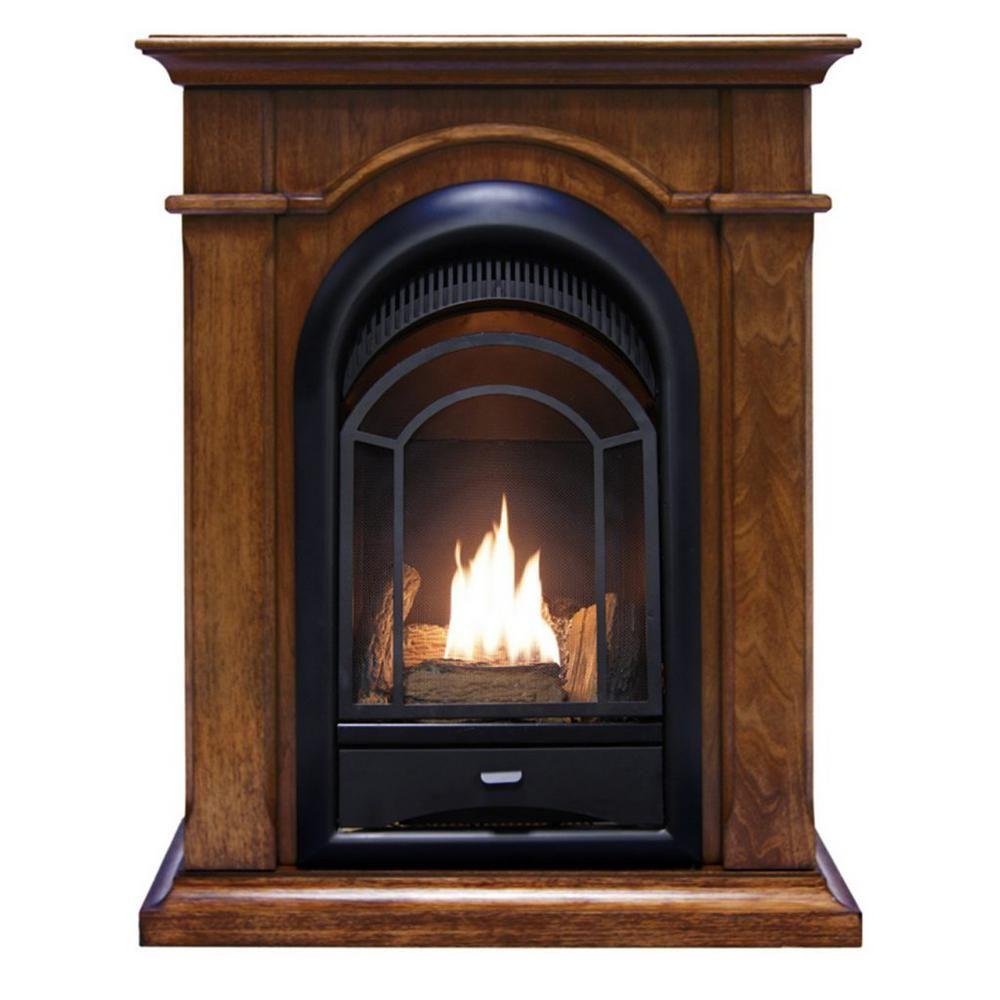 Procom Heating 15 000 Btu Corner Combo Ventless Dual Fuel Fireplace System In Walnut 170170 The Home Depot In 2020 Ventless Fireplace Vent Free Gas Fireplace Natural Gas Fireplace