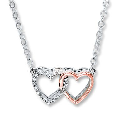 7eec0f513 Heart Necklace 1/20 ct tw Diamonds Sterling Silver/10K Gold. Another idea  for Mom...one heart is me and one is chloe