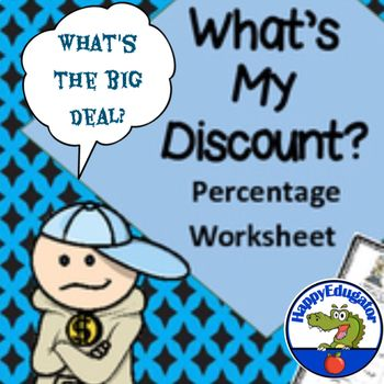 Figuring Percents  WhatS My Discount Worksheet  Percents