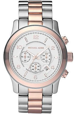 0fffee8e13221 Michael Kors Mens Watch MK8176 Two Tone Rose Gold Silver Chronograph ...