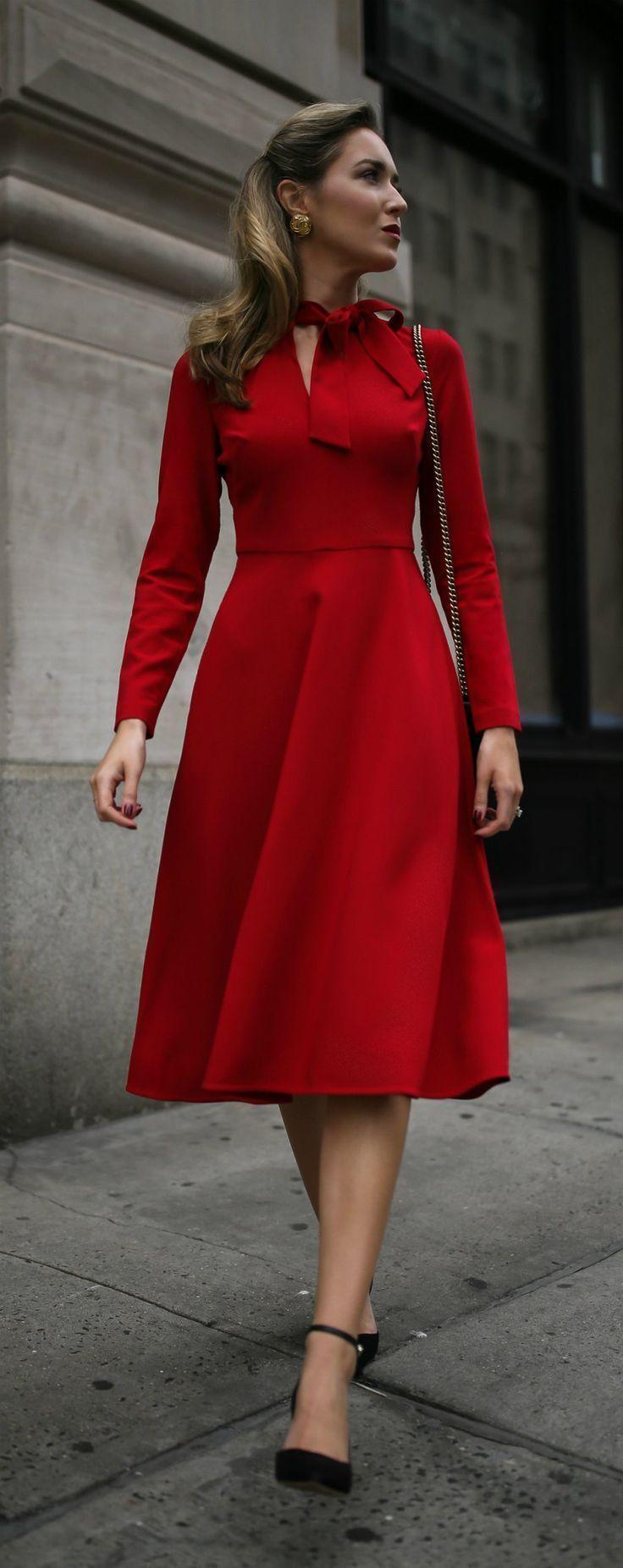 2d20992de23 Business Conference // Red long sleeve fit-and-flare tie-neck midi dress,  black ankle-strap pumps, black leather crossbody bag {Black Halo, Sam  Edelman, ...