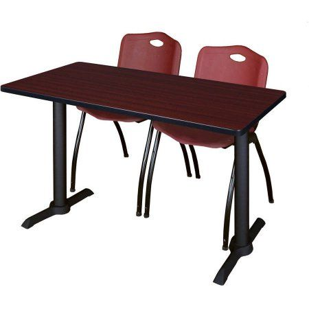 Cain 42 inch x 24 inch Mahogany Training Table and 2 M Stack Chairs