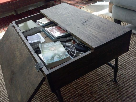 Rustic wood industrial coffee table with by Homemade coffee table plans