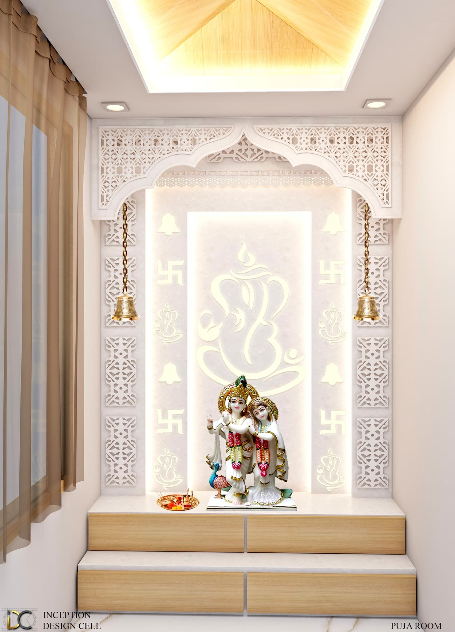 9 Traditional Pooja Room Door Designs In 2020: Puja Room Modern Walls & Floors By Inception Design Cell