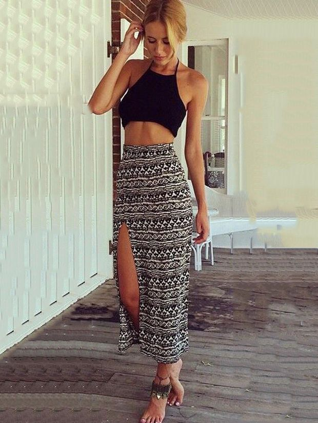 b9b55a5bf Geometric Print Strappy Cropped Top and Maxi Skirt with Slit Set ...