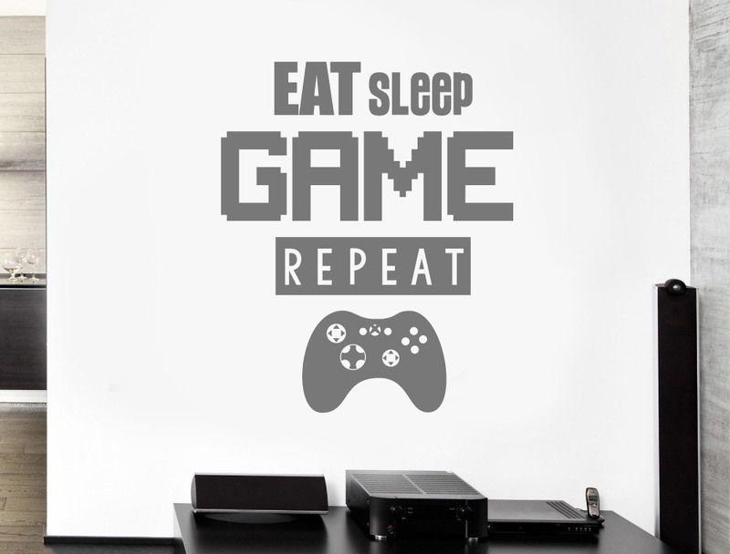 Gamer Wall Sticker Eat Sleep Game Repeat Wall Sticker Wall Stickers Quotes Childrens Wall Stickers