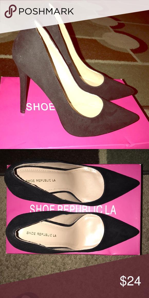b5f0ef1340c7 Black Suede Point toe Heels! Never worn! Shoe Republic LA Shoes Heels