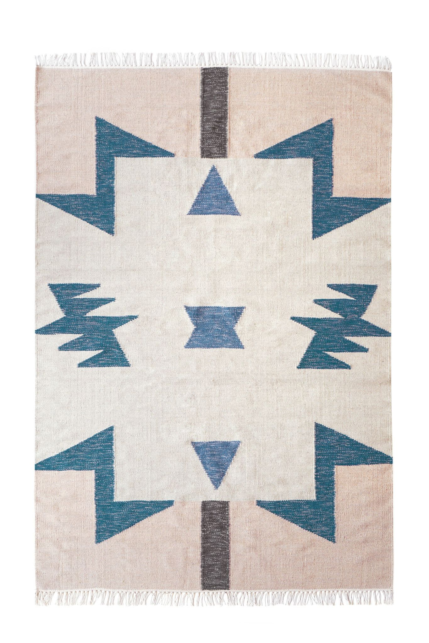 Webteppich Domino Large Kelim Rug In Blue Triangles Design By Ferm Living