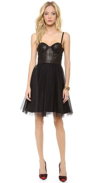 Alice Olivia Gia Leather Bustier Dress