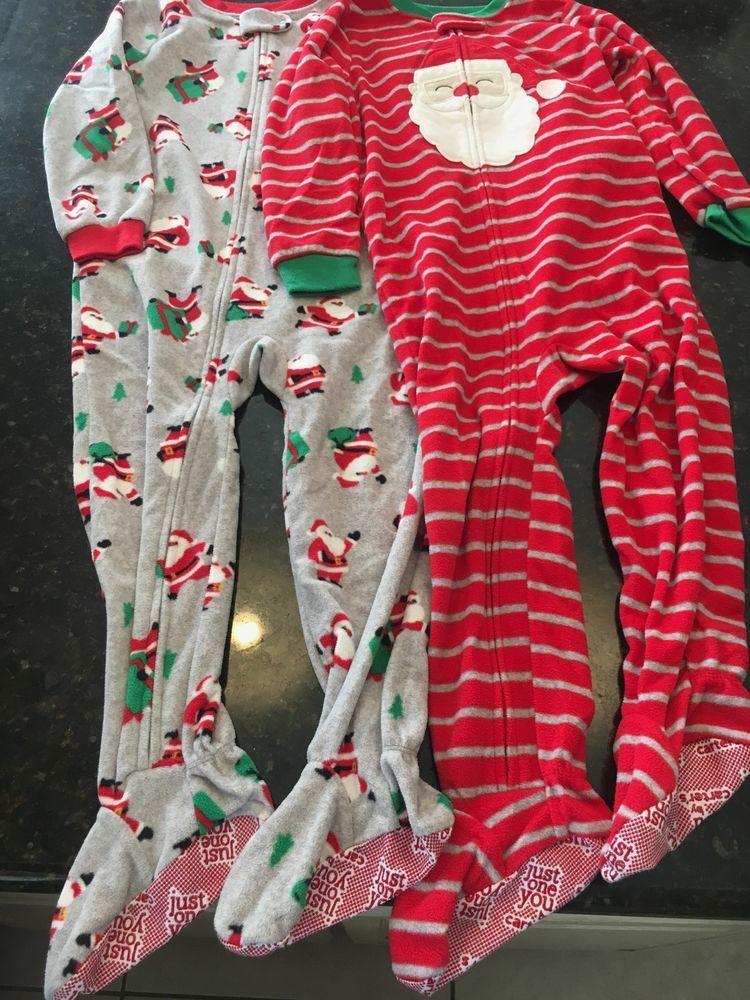 4dcbc7e46e9a Carters 4t boys Christmas fleece footed zip up pajamas Santa Claus ...