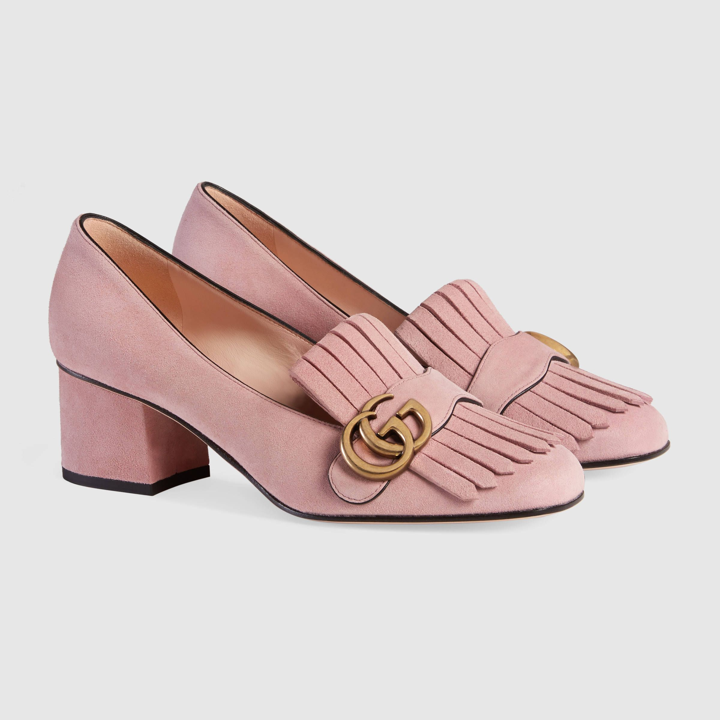 Gucci low heel light pink suede size 40.5 | Foot Candy | Pinterest ...