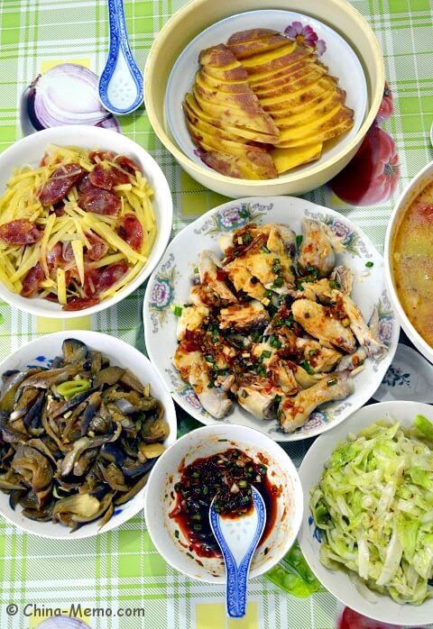Chinese Lunch with Potato Fried Pork Sausages. #recipe www.china-memo.com