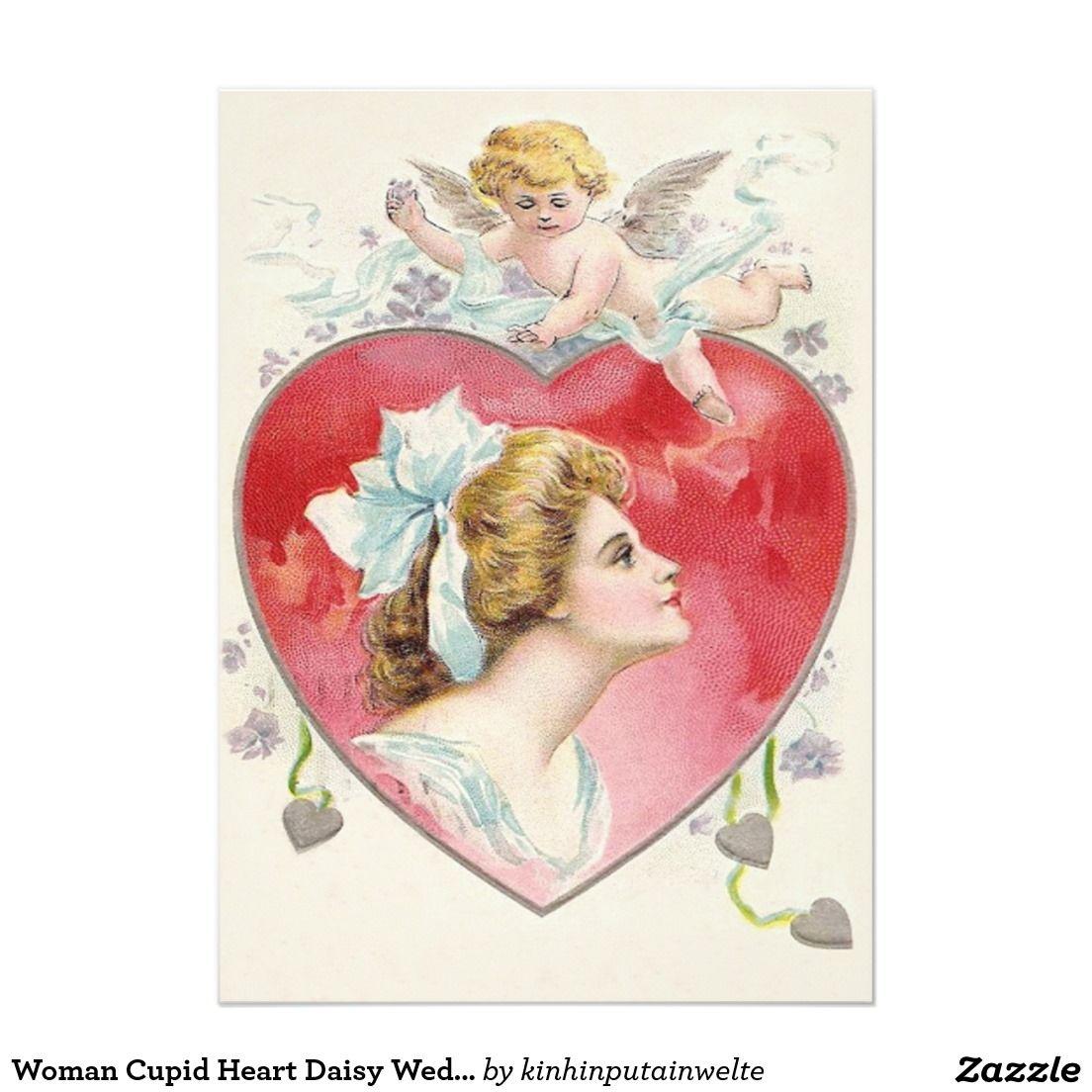 Woman Cupid Heart Daisy Wedding Invitation | Valentine\'s Day ...