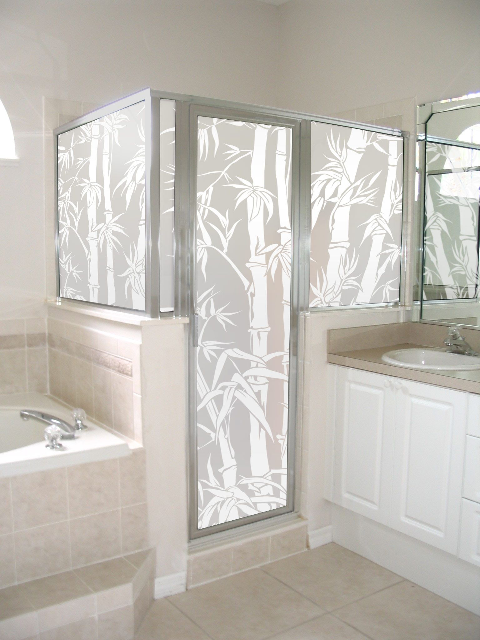 Etched glass doors privacy glass door inserts bamboo pictures to pin - Glass Doors Big Bamboo Privacy Film Shown On A Shower Enclosure
