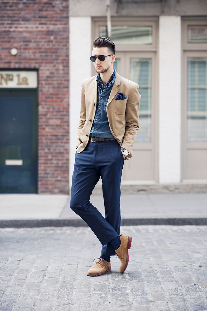 Men's Tan Blazer, Blue Denim Shirt, Navy Dress Pants, Tan Suede ...