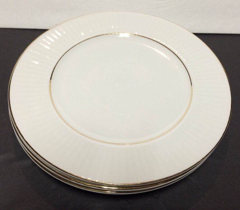 SET/3 GIBSON HOUSEWARES CHINA RIBBED RIMMED BREAD PLATES WHITE w ...