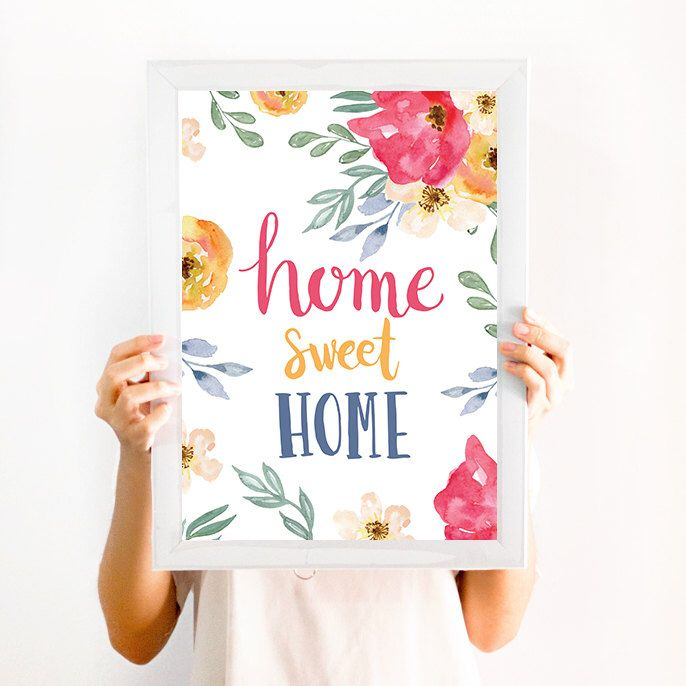 Home sweet Home, Quote Wall art Decor, Print, Watercolor