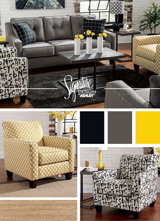 Brindon Charcoal Sofa Accent Chairs