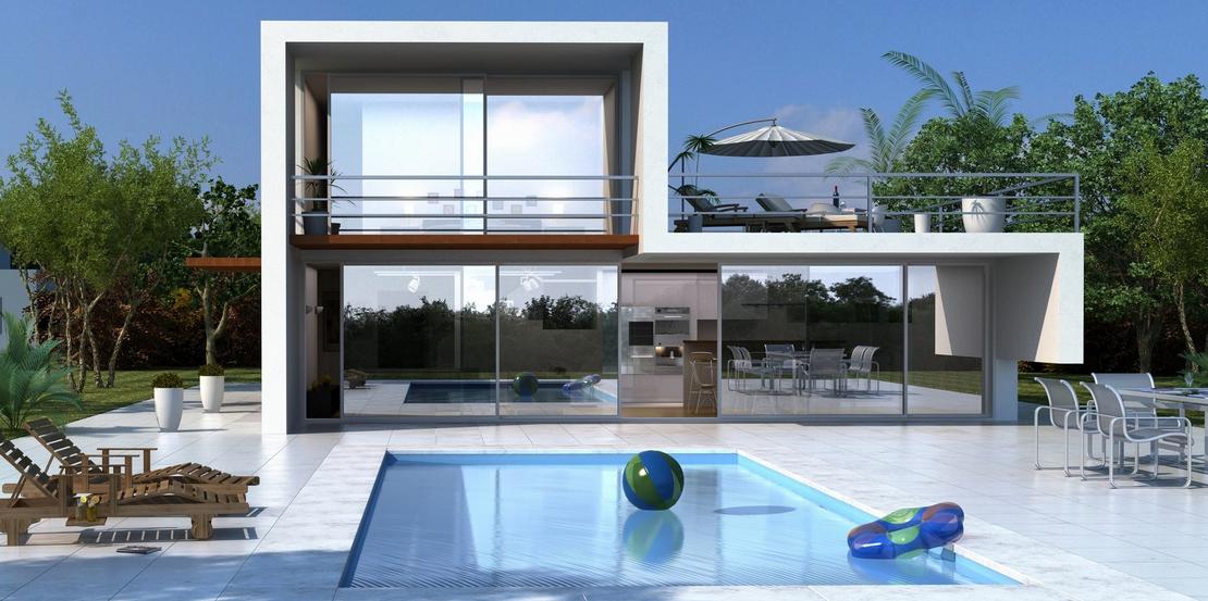 Plano de casa muy moderna y vidriada de 2 plantas ideas for Diseno exterior casa contemporanea