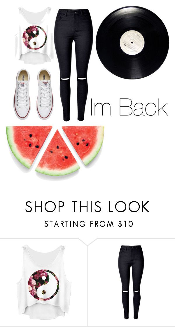 """""""im back"""" by kiersten-mae ❤ liked on Polyvore featuring Converse"""