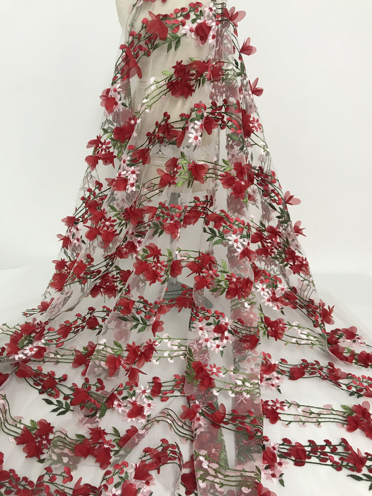 Red 3d Chiffon Flowers Lace Fabric Tulle Lace Fabric With 3d