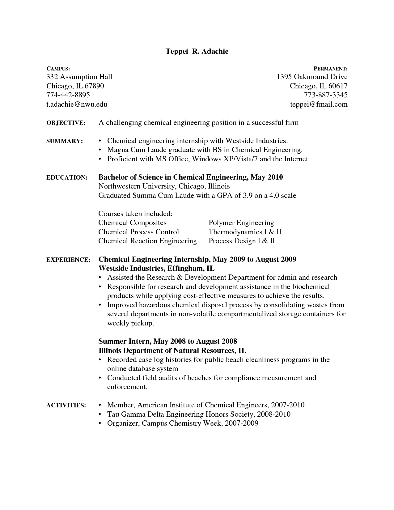 Internship Resume Template Sample Resume Chemical Engineering Internship Engineer Template