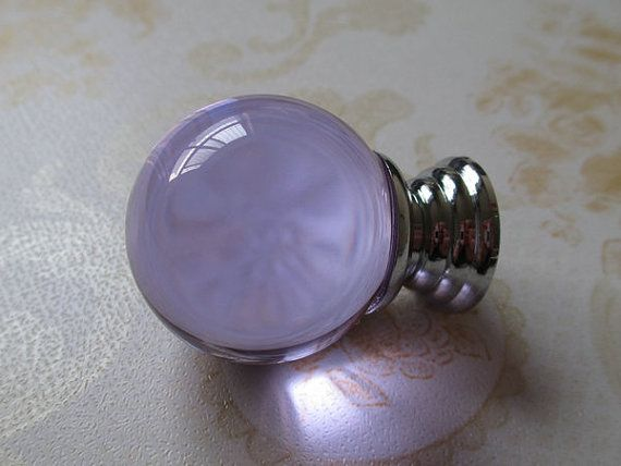 Lavender Purple Glass Crystal Dresser Drawer Knobs Handles Pulls Cabinet Hardware Bathroom Accessories by LynnsGraceland, $6.00
