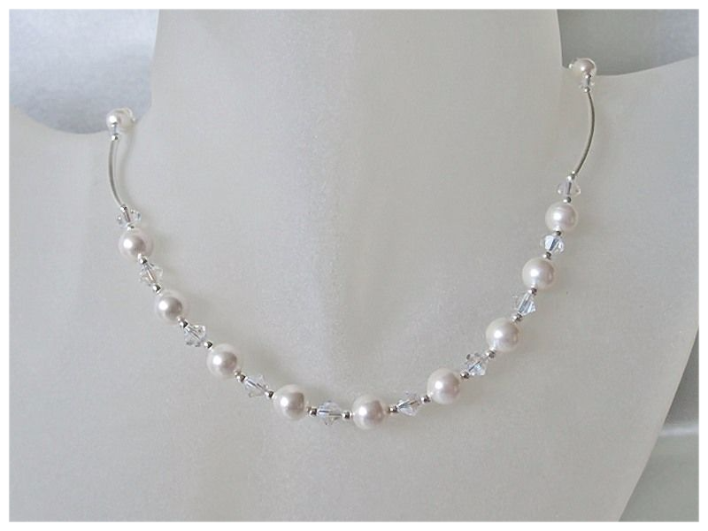 b85747d5736ff White Swarovski Pearls, Crystals & Sterling Silver Curve Tubes ...