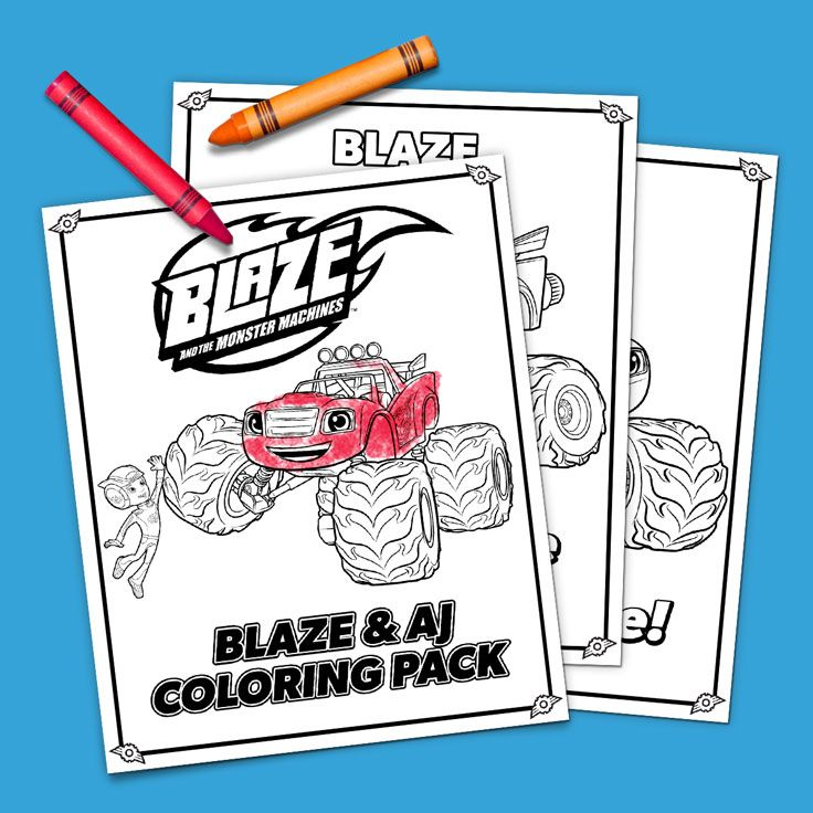 blaze and aj coloring pack