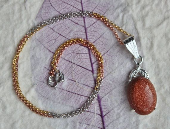 """Red Goldstone Gemstone Pendant w 17"""" Rose, White, Yellow Gold Plated on Sterling Silver Chain Necklace -Great Christmas Gift! Free Gift Box!..."""