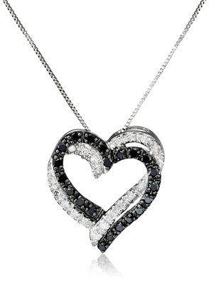 Heart necklaces for girlfriend google search diamonds are a white gold double heart black and white diamond pendant necklace cttw i j color clarity 18 aloadofball Image collections