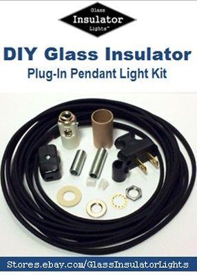 Insulator swag light kit plug in pendant lights parts kit diy insulator swag light kit plug in pendant lights part kit diy glass insulator aloadofball Choice Image