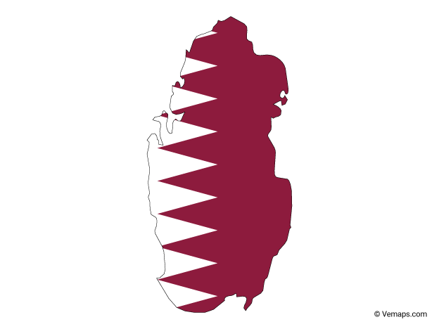 Flag Map Of Qatar Free Vector Maps Map Vector Vector Free Drawing For Beginners