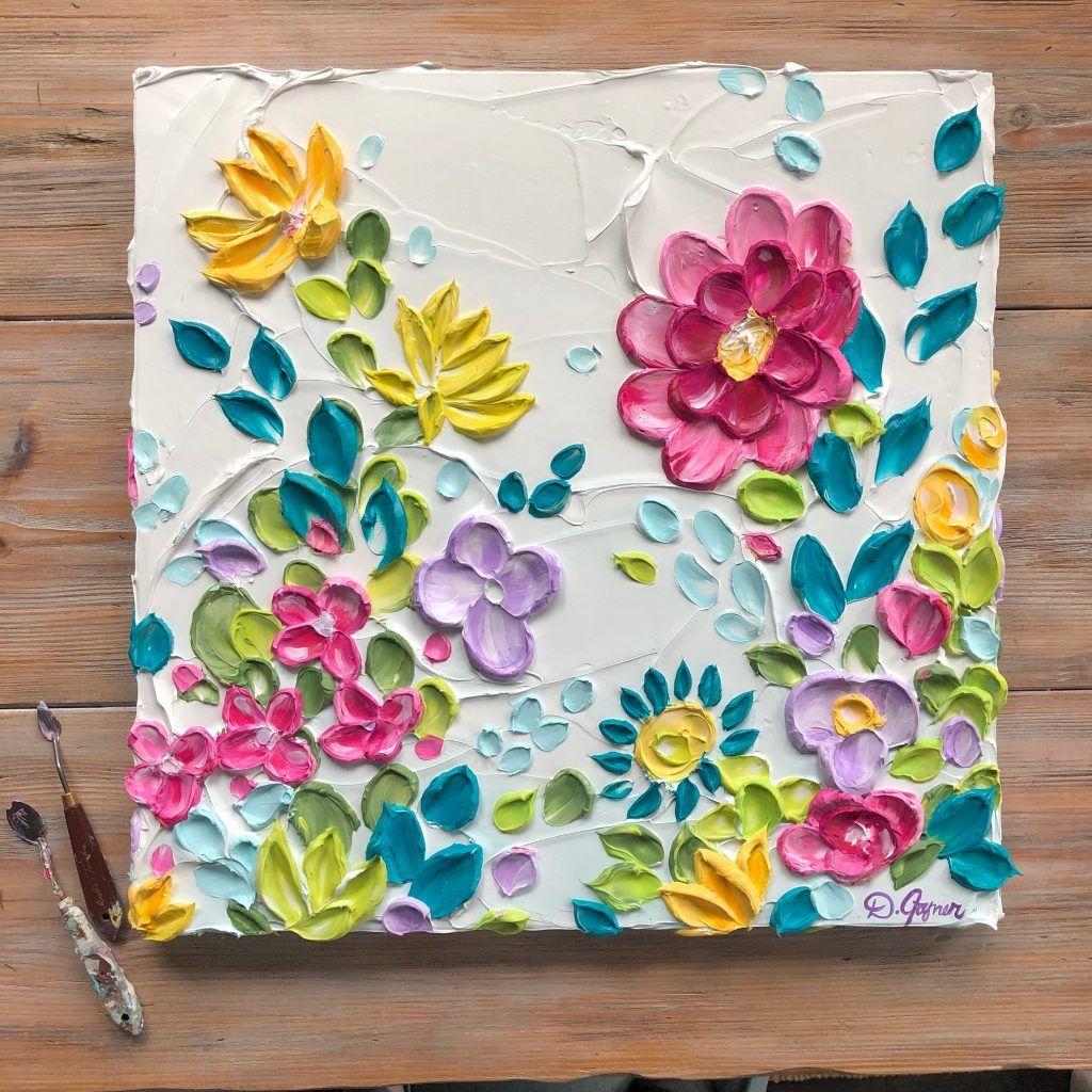 Sculptural Paintings Dusti Joyner Flower Painting Canvas Texture Painting On Canvas Floral Paintings Acrylic