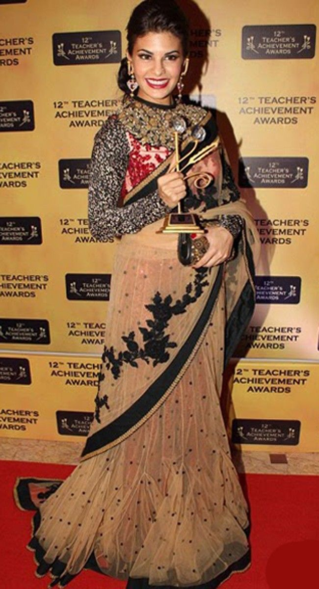 60d16a5a5e Jacklin Farnadis Bollywood Beautiful Replica Brown #Saree | Indian ...