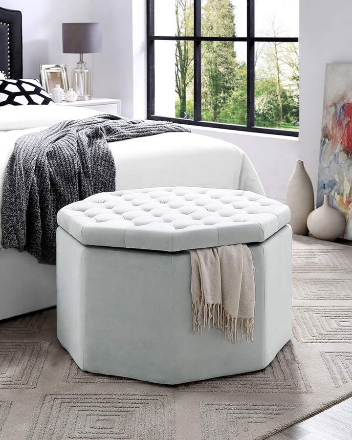 Remarkable Large Velvet Octagon Storage Ottoman In 2019 Products Machost Co Dining Chair Design Ideas Machostcouk