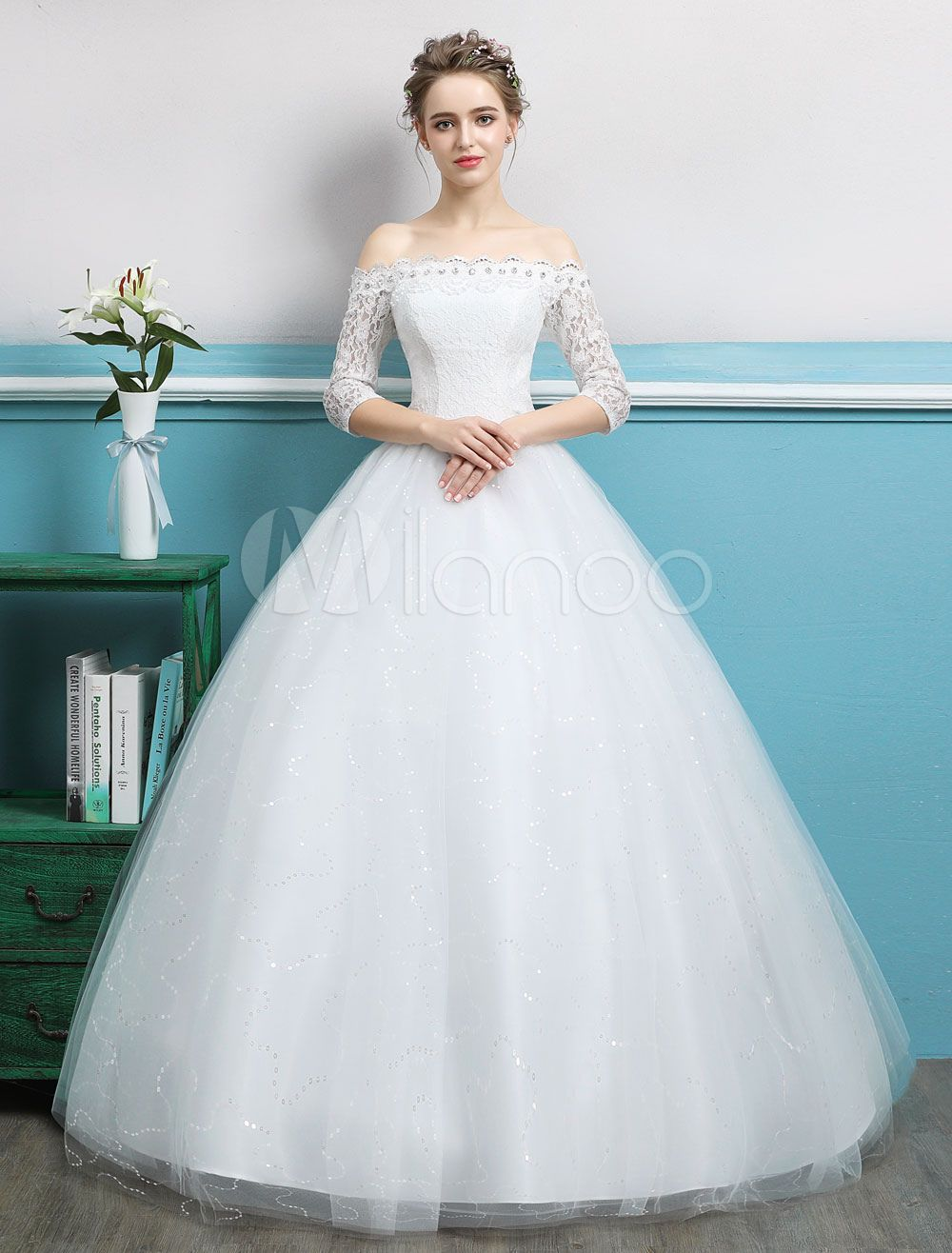Wedding dresses with rhinestones  Princess Ball Gown Wedding Dresses Off Shoulder Lace Rhinestones