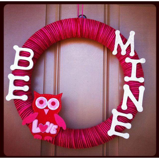 DIY V-Day Wreath. Circular wreath, wooden letters, owl kit ...
