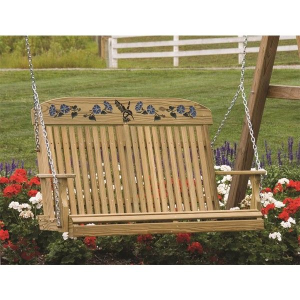 Amish Pine Hummingbird Porch Swing ($258) ❤ liked on Polyvore featuring home, outdoors, patio furniture, hammocks & swings, amish swings, outdoor porch swing, garden swing, outside swings and outdoor swing
