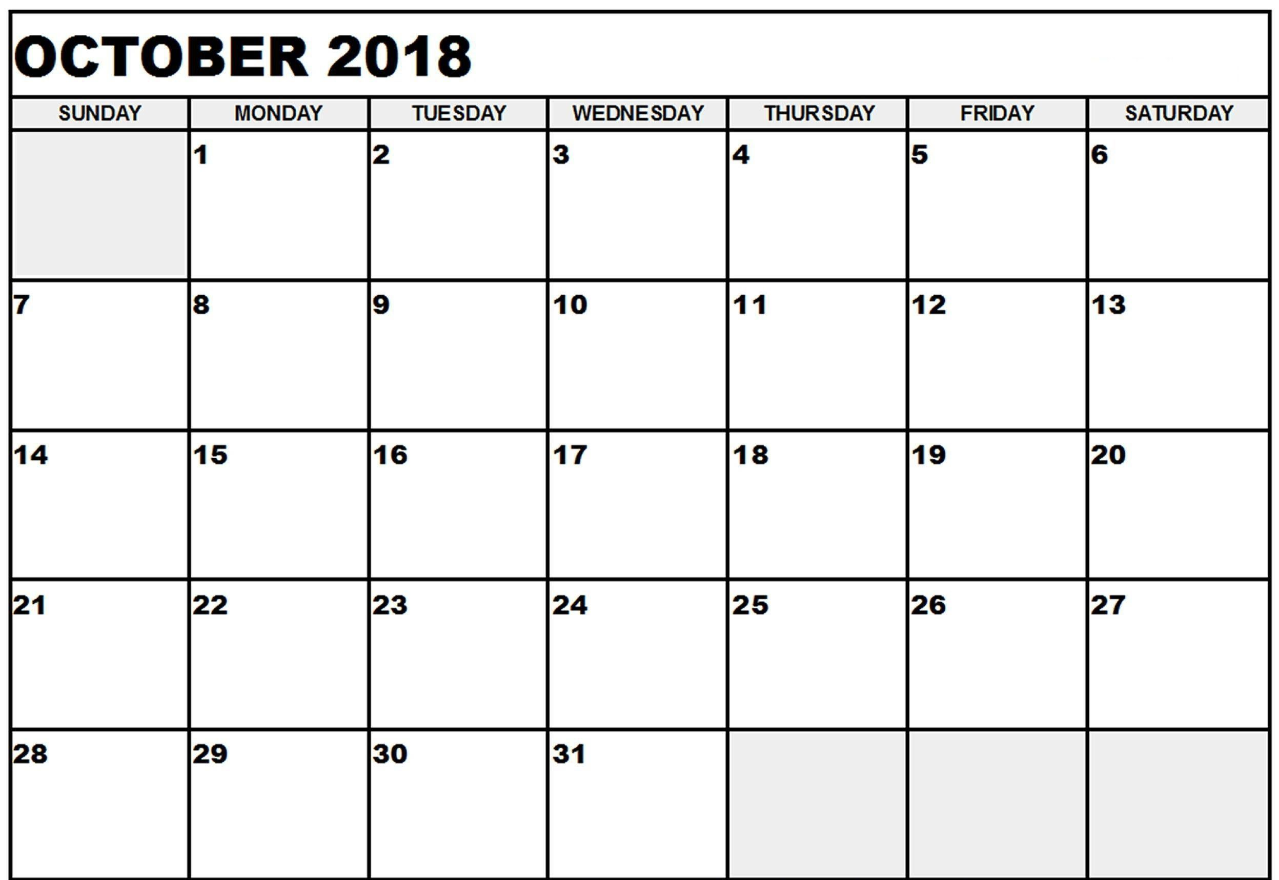 photo relating to Printable Oct Calendar called Printable Oct 2018 Calendar 2018 Oct Calendar October