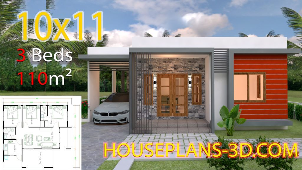 House Design 10x11 With 3 Bedrooms Terrace Roof In 2020 House Plans House Layout Plans Bungalow House Design
