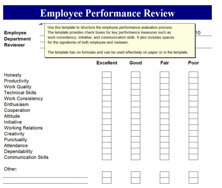 Employee Performance Review Template template Pinterest Template