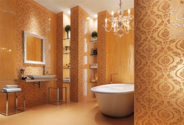 Kräftige Fliesenfarben Florale Motive Luxus Wände Im Bad