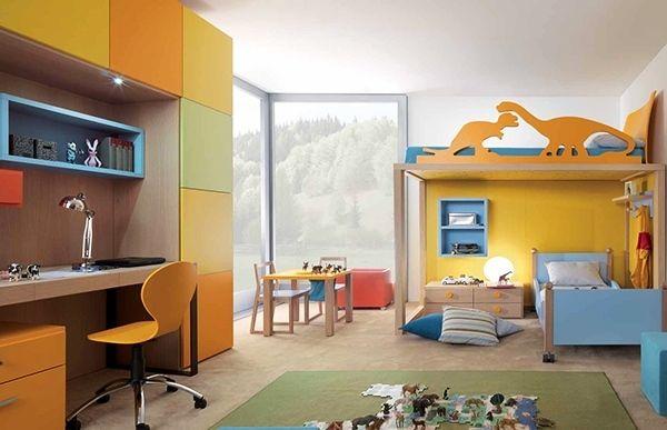 Modernes Kinderzimmer einrichten Schreibtisch Dekoration Dinosaurier