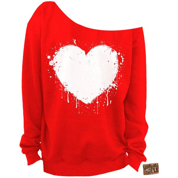 ladies valentines day shirt heart slouchy sweatshirt grunge splatter 25 - Valentines Day Shirts Ladies