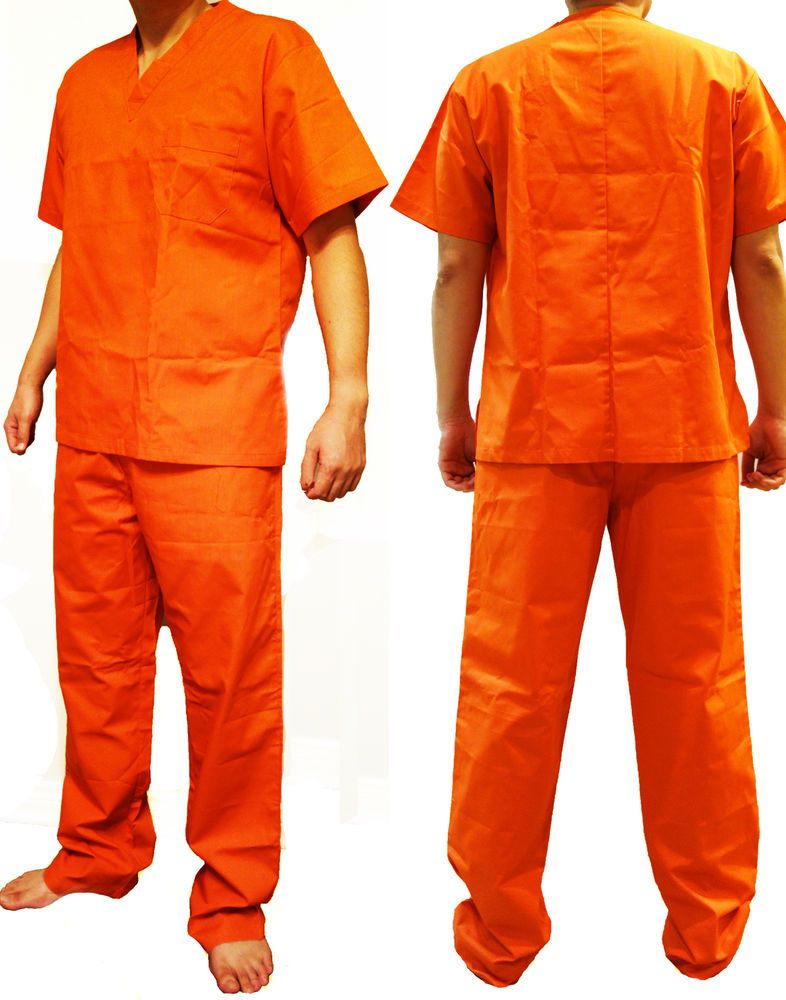 Details about CUSTOM PRINTED Jail Inmate Orange JUMPSUIT Costume ...