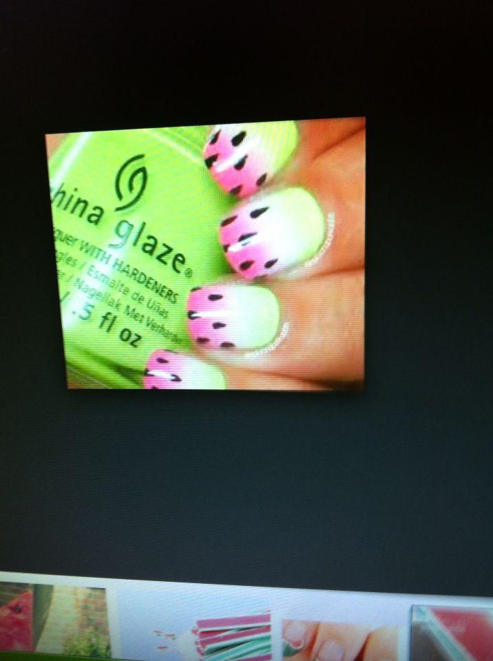 Nail Art. Watermelon Style Bright Manicure Stock Image